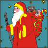 Coloring game with Santa Claus at Holy Night.