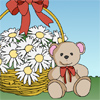 Valentine coloring page. A teddy bear and a basket of flowers.