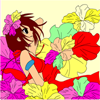 "Kid`s coloring: ""Girl and flowers"" is free coloring game for kids."