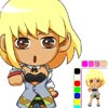 Color a chibi version of the female ninja character Peony from the TAOFEWA manga universe. Select the colored version to change or the black and white version to color from blank. You can select several colors and color densities and add new colors or just magical aura like layers to the coloring sheet.