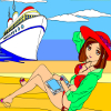 Sunny beach and the white boat is free coloring game for you.