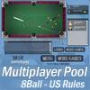 "Multiplayer 8Ball Pool (US Rules). Play 8ball pool with your read friends online without any registration!  Eight-ball, sometimes called stripes and solids and, more rarely, bigs and littles or highs and lows, is a pool game popular in much of the world, and the subject of international amateur and professional competition. Played on a pool table with six pockets, the game is so universally known in some countries that beginners are often unaware of other pool games and believe the word ""pool"" itself refers to eight-ball. The game has numerous variations, including Alabama eight-ball, crazy eight, English eight-ball pool, last pocket, misery, Missouri, 1 and 15 in the sides, rotation eight ball, soft eight, and others. Standard eight-ball is the second most competitive professional pool game, after nine-ball and for the last several decades ahead of straight pool. Eight-ball is played with sixteen balls: a cue ball, and fifteen object balls consisting of seven striped balls, seven solid balls and the black 8 ball. After the balls are scattered on a break shot, the players are assigned either the group of solid balls or the stripes once a ball from a particular group is legally pocketed."