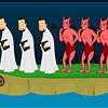 Excellent puzzle game. Your goal is to forward the priests on the other side, but on one side there should be no more devils or as much as priests. Boarding and landing in the boat with the mouse.
