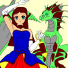 Kid`s coloring: The girl and her dragon! Free coloring page.