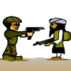 "The player has to protect the army from the talibans attack by shooting them using the mouse right click. To move the army front and back use keyboard keys ""A"",""D"" and ""W"" to jump. Your strength decreases when the Taliban shoot and throw bombs on army. Game ends when your strength is lost."