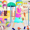 Dress up Hannah stylishly! Choose clothes, shoes and accessories and drag it with the mouse to the girl, to take the object off just click at it with the left mouse button.