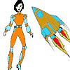 Space Woman and rocket coloring