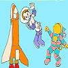 Cute astronauts coloring