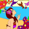 Kid's coloring: Girl and birds