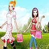 Tourist girls dress up