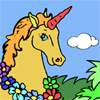 A mythical unicorn is running in dreamland. Give color to this wonderful picture!  You can print your art after.