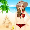 Pretty Girl on Beach Dress Up