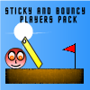Players pack of Sticky And Bouncy, a unique physics puzzle game by coffingames.com and onlineartgames.com where you make objects sticky and bouncy to make the red ball reach the flag.