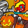 Color six scary Halloween coloring pages online. Motifs includes a sceleton riding in a pumpkin hot air balloon and a ghost who is chasing a frightened boy.