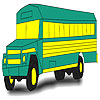 Green school bus coloring