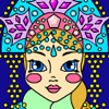 Color this lovely Snow Maiden anyhow you like! Then you can save the picture and send it with your Merry Christmas greetings to your friends! Or click on the smiling crescent for another Christmas coloring game.