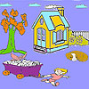 Child and farm animals coloring