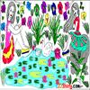 Pick colors from the palette and color the lily,pond,flowers,plants,flowers and girls.