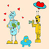 Robots in love coloring