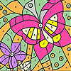 Pink butterfly and flower coloring
