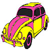 Pink turtle car coloring
