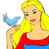 Princess And Bird Coloring