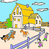 Big farm and horses coloring