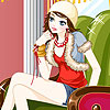 Katy on the armchair dress up A Free Dress-Up Game