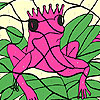 Alone pink frog coloring