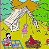 Lena at the camp coloring
