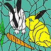 Hungry rabbits coloring