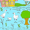 Little farm and ducks coloring