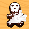 In this cooking game, we will ask you to use gingerbread cutters to create spooky skeletons out of these good bittersweet chocolate chip cookies.
