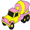 Pink concrete truck coloring