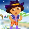 Help Dora to wear nice clothes in a beautiful snowy day.