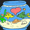 Cute fishes  in the aquarium coloring