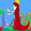 Mermaid and fishes coloring