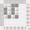 The goal is to color in some of the cells to satisfy the clues.  The number at the bottom of each column is the sum of the values of the black boxes of the numbers on the left. The number at the right of each row is the sum of the values of the black boxes of the numbers on the top.