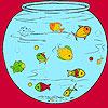 Little fishes in the aquarium coloring