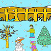 Snow man and winter night coloring