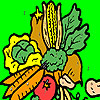 Colorful garden vegetables coloring