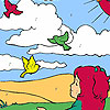 Girl  and birds in the field coloring