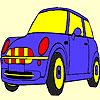 Blue cute car coloring