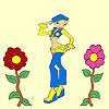 Florist cowboy girl coloring A Free Customize Game