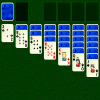 Klondike is a well known card game sometimes known simply as Solitaire.  Cards must all be moved to foundations in suit order, and can be stacked in the tableau in red-black descending sequence.