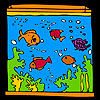Big aquarium and colorful fishes coloring