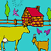 Big village and animals coloring