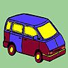 Concept mini bus coloring Game.
