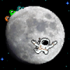 A spaceship landed near the small moon city. Aliens are racing for loot.