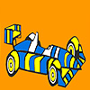 Fast striped racing car coloring